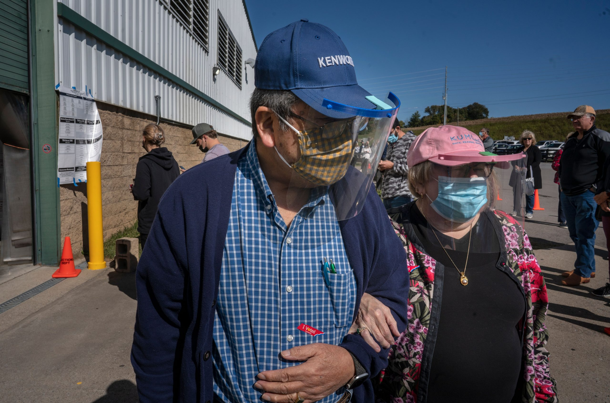 """Jiro Oi, 76, and Karen Oi, 66, outside the Williamson County AG Expo Center. Voting """"is a right and a duty,"""" said Karen Oi."""