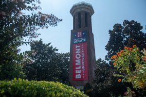 The Bell Tower with the Debate 2020 banner at Belmont University in Nashville, Tennessee, September 9, 2020. (Photo: Samuel Simpkins/Belmont University)