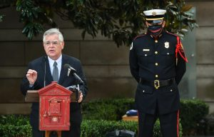 Nashville, Tenn., Sept. 11 - Mayor John Cooper speaks at the Nashville Fire Department ceremony in remembrance of the Sept. 11, 2001 terrorist attacks. (Photo: Nashville.gov)