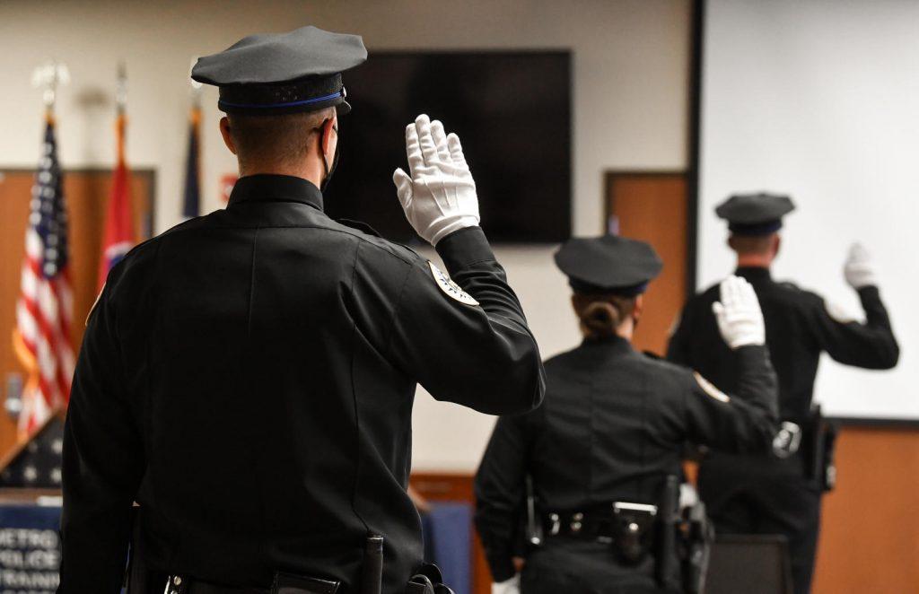 Recent graduates of the Metro Police Academy are sworn in August 12 2020. (Photo: Nashville.gov)
