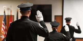 Recent graduates of the Metro Police Academy are sworn in August 12 2020. (Photo: Nashville.gov)