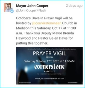 A now-deleted tweet from Mayor John Cooper's office. (Screenshot from Twitter)