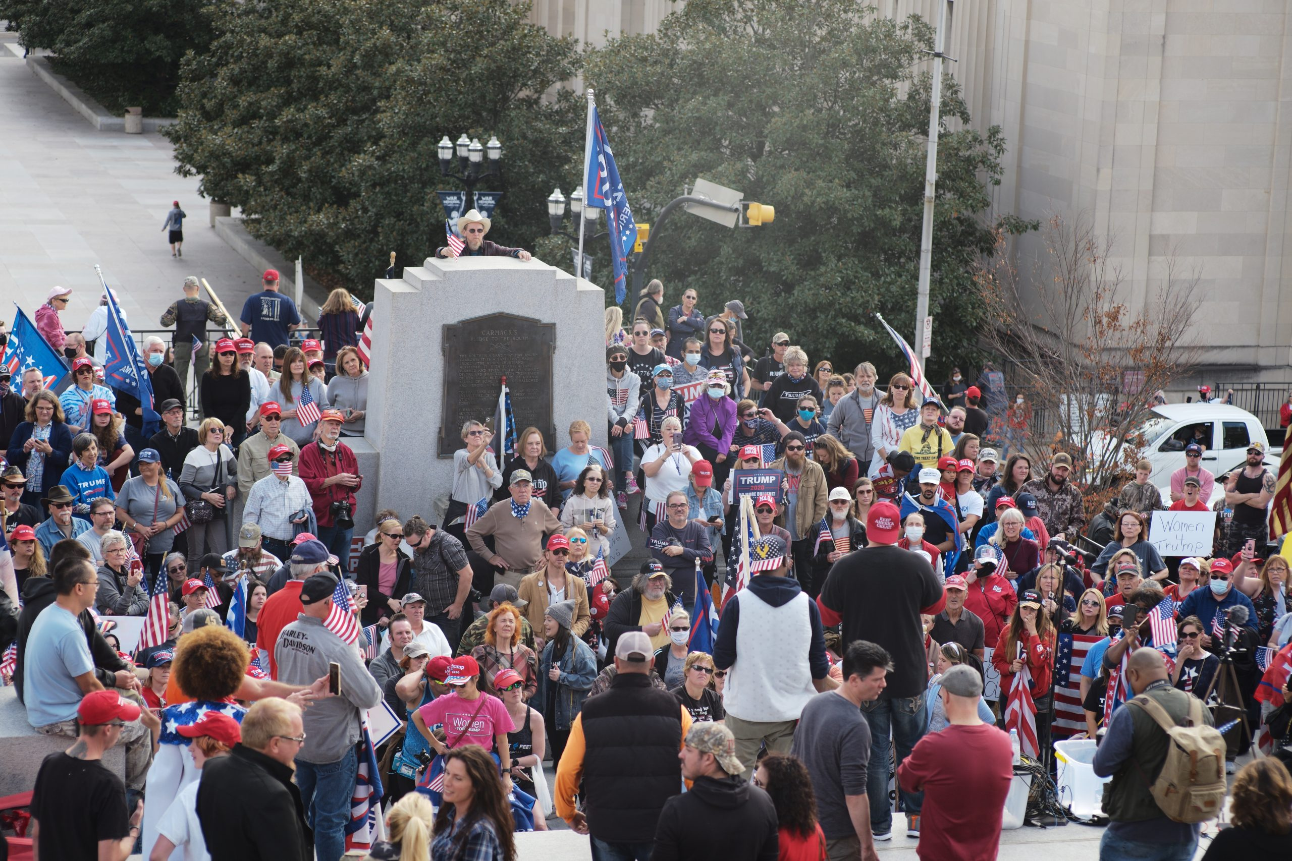 Hundreds of protesters surge around the former site of a statue or Edward Carmack, just blow the capitol. (Photo: Ray Di Pietro)