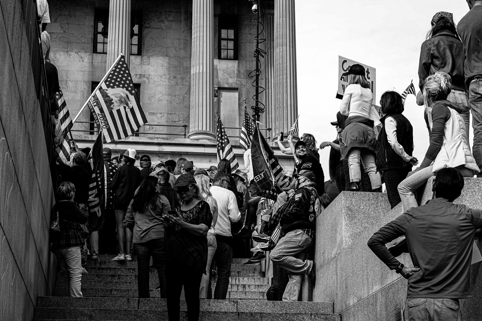 Caught in black and white, a portion of Saturday's crowd in Nashville protesting President-elect Joe Biden's election. (Photo: Matt Bastin)
