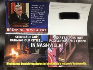 Mail piece sent by the Tennessee Republican Party attacking candidate Brenda Payne in the Hendersonville Mayor's race.