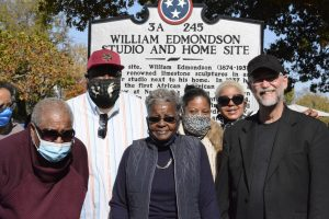 Descendants of William Edmondson, including grand-niece Mary Coplen, front, in black sweater and gray jacked, at Saturday's monument dedication. (Photo: Dulce Torres Guzman)