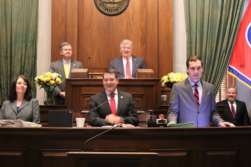 U.S. Rep. Mark Green joins Lt. Gov. Randy McNally, top right, and Sen. Bill Powers, top left, in the Senate Chambers Jan. 22. (Photo: Facebook, Senate Republican Caucus)