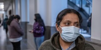 Maria Hernandez at Davidson County General Sessions Court in November, waiting to see if she can work out a deal with her landlord to stay in her apartment. (Photo: John Partipilo)