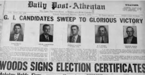 Headline from Daily Post Athenian, 1946 (Photo courtesy of the Daily Post Athenian)