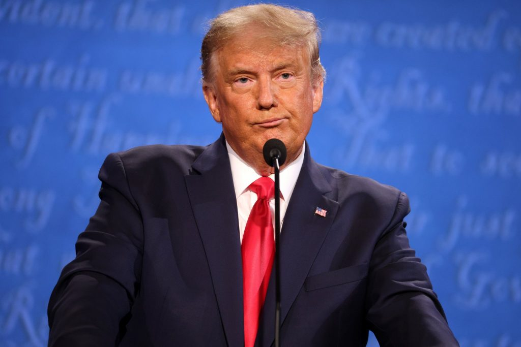 U.S. President Donald Trump participates in the final presidential debate against Democratic presidential nominee Joe Biden on Oct. 22, 2020 in Nashville, Tenn. Photo by Justin Sullivan | Getty Images