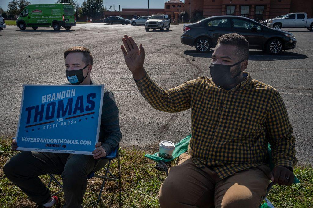Brandon Thomas, right, during his 2020 run for the state legislature. (Photo: John Partipilo)