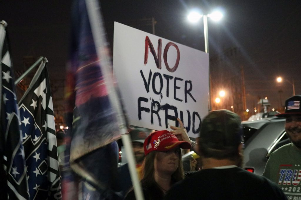 Right-wing protesters gather outside the Maricopa County Elections Department on Nov. 4, 2020, demanding that all ballots for President Donald Trump be counted. Inside the building, election workers were busy counting hundreds of thousands of ballots. (Jerod MacDonald-Evoy/Arizona Mirror)