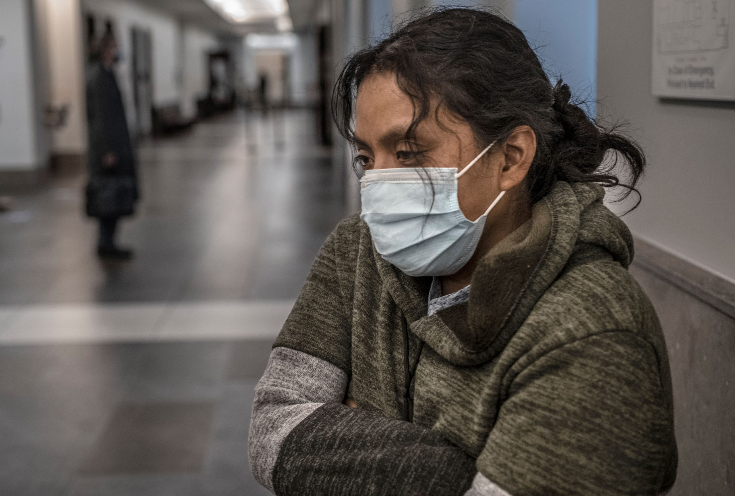 Maria Hernandez waits in the hallway of the A.A. Birch Building outside General Sessions Court to find out if she will get financial help to stall her eviction. (Photo: John Partipilo)