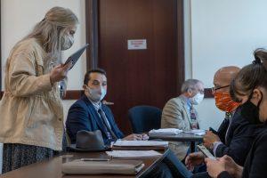 Faith Klein of the Nashville Conflict Resolution Center negotiates for a client facing eviction. (Photo: John Partipilo)