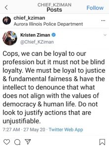 Screen shot of Chief Kristen Ziman's Instagram.
