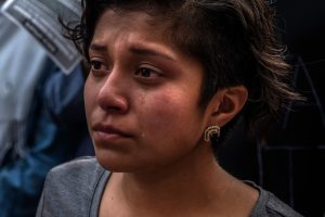 Angela Mori, cries during a DACA march to the offices of Senators Bob Corker and Lamar Alexander after the announcement that the program was ending.