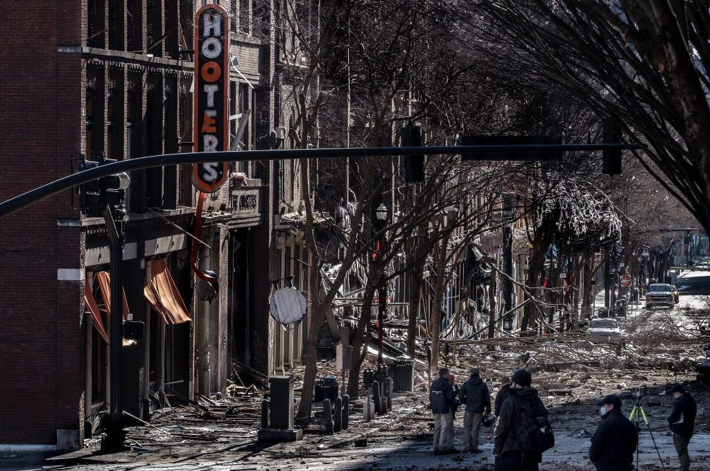 a couple of photos of damage from explosives on Downtown Nashville's Second Avenue Saturday morning. (Photo: John Partipilo)