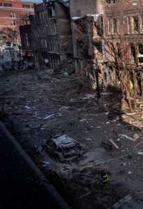 A vertical shot of bomb-damaged buildings on Nashville's historic Second Avenue. (Photo: John Partipilo)