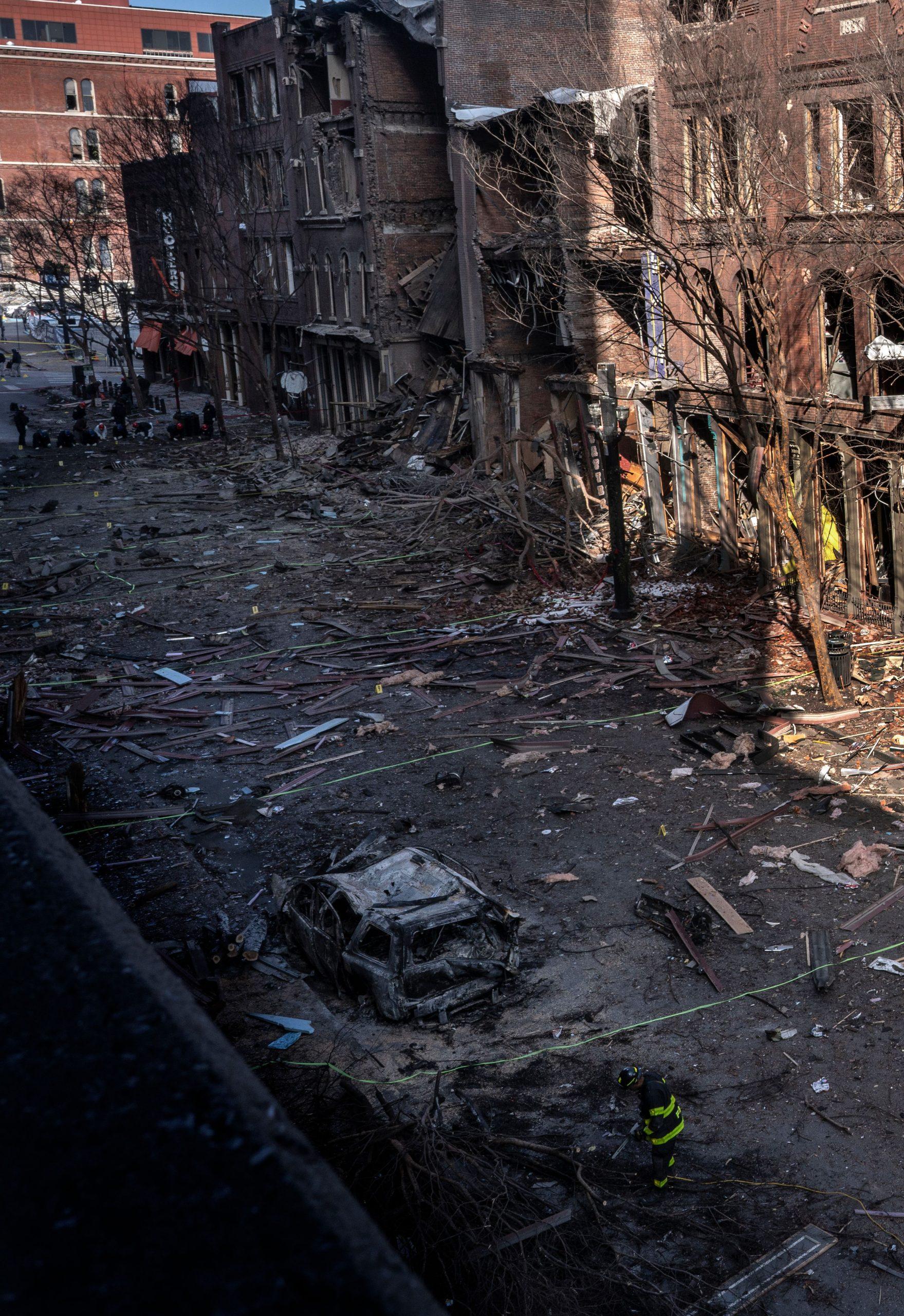A vertical shot of bomb-damaged buildings on Nashville's historic Second Avenue. (Photo: John Partipilo)