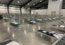 The temporary homeless shelter at the Nashville Fairgrounds Expo Center. (Photo: Colby Sledge)