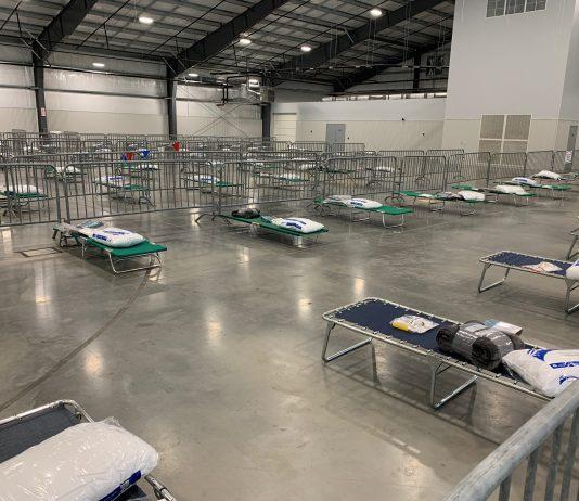 The temporary homeless shelter at the Nashville Fairgrounds Expo Center. (Photo: Colby Sledge)