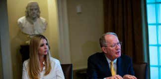 "WASHINGTON, DC - JUNE 26: Ivanka Trump, daughter and assistant to U.S. President Donald Trump, and Sen. Lamar Alexander (R-TN) attend a lunch meeting with Republican lawmakers in the Cabinet Room at the White House June 26, 2018 in Washington, DC. The president called the Supreme Court's 5-4 ruling in favor of the administration's travel ban a ""tremendous victory,"" according to published reports. (Photo by Al Drago-Pool/Getty Images)"