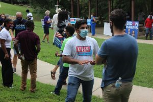 Kiran Sreepada, center, wearing mask and campaign t-shirt, said his race for Congress was affected by perceptions about his race and religion. (Photo: Kiran For Congress)