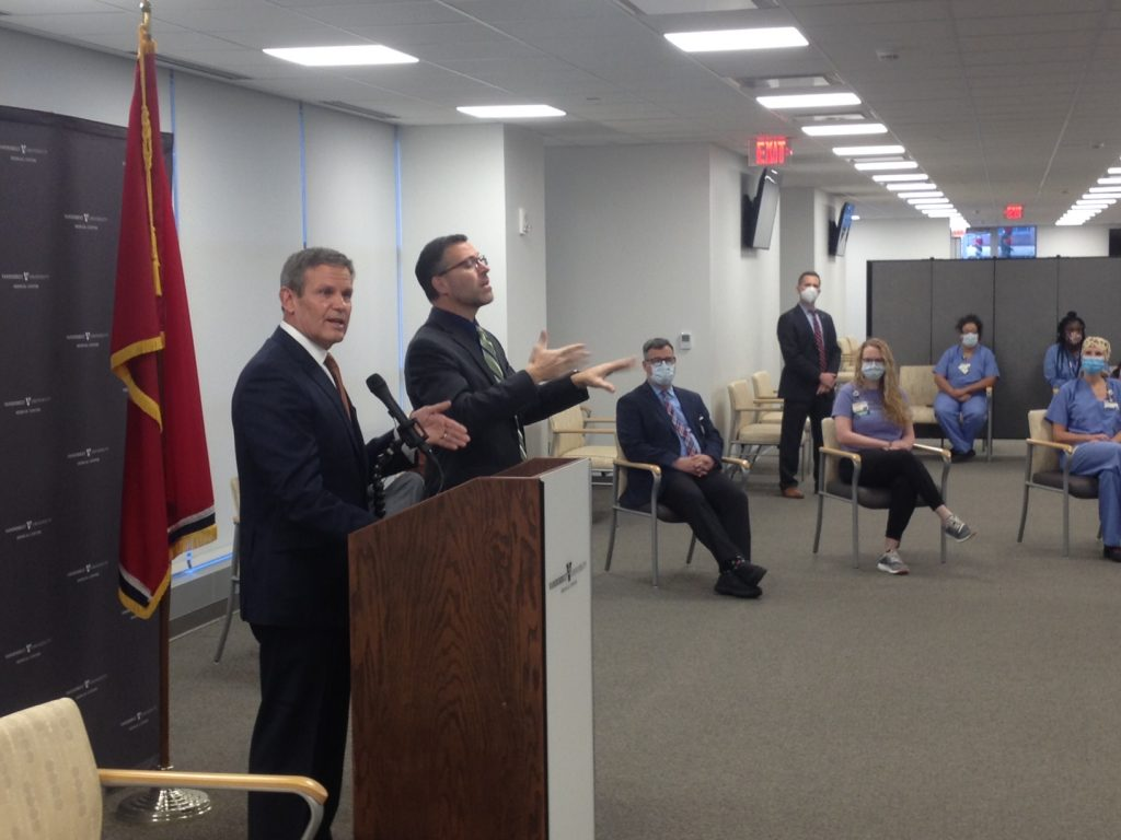 Gov. Bill Lee addressing the surge in COVID-19 cases and the vaccine at his regular press briefing. (Photo: Sam Stockard)