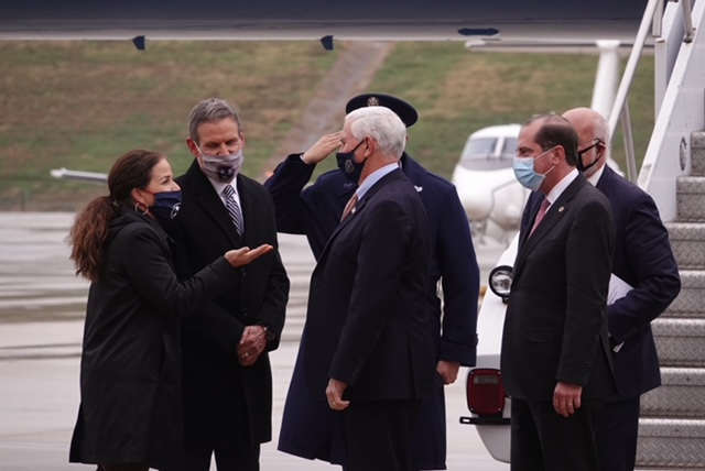 Gov. Bill Lee and First Lady Maria Lee greet Vice President Mike Pence Dec. 4 in Memphis at an event to discuss distribution of the COVID-19 vaccine. (Photo: Karen Pulfer Focht)