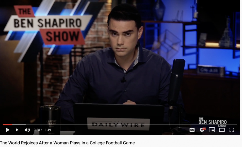 On Tuesday, Ben Shapiro critiqued Vanderbilt University football and soccer player Sarah Fuller's kicking skills. (Photo: YouTube)