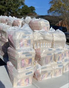 Food pre-bagged for a mobile food bank in Memphis. (Photo: Jerri Green)