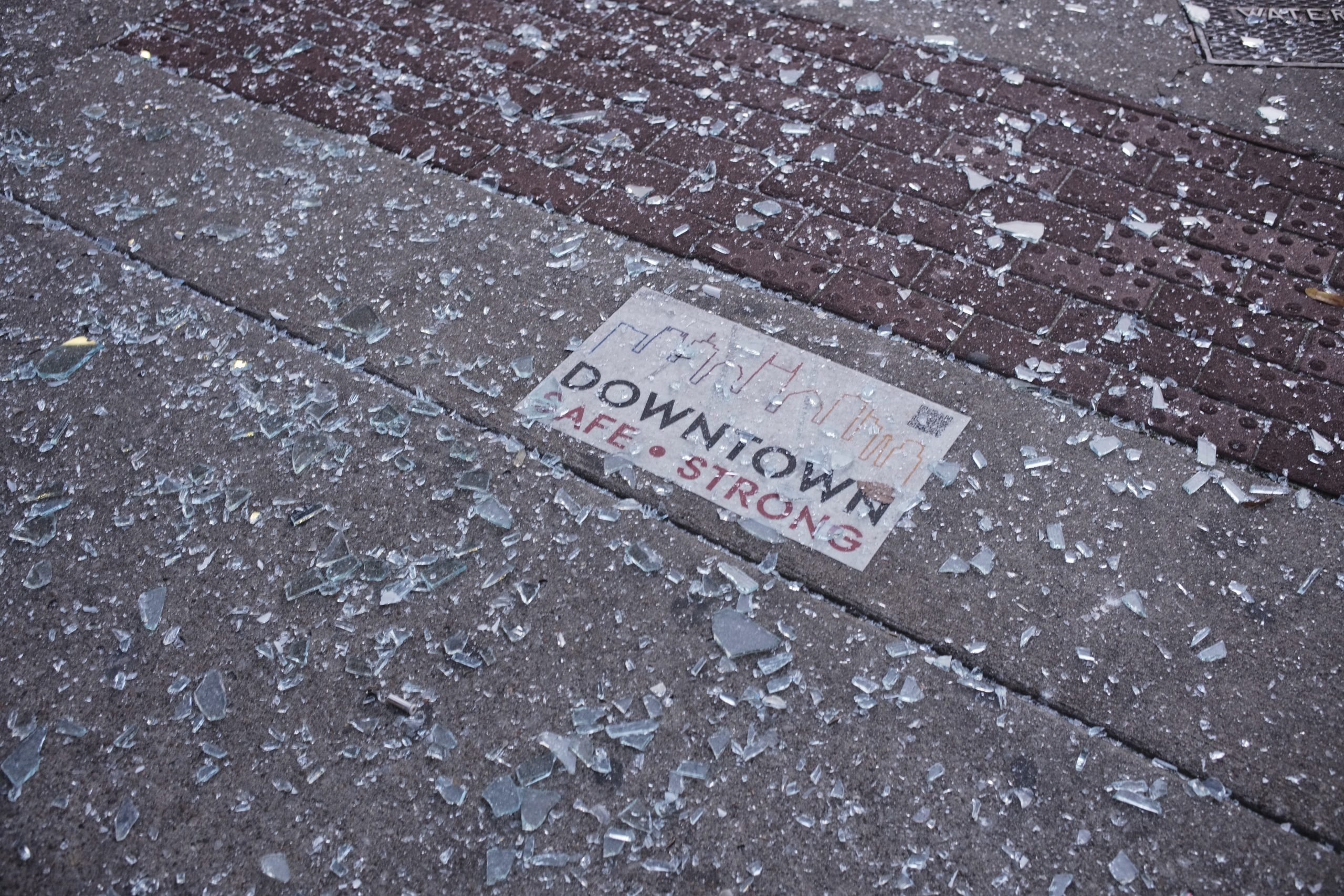 Broken glass on Second Avenue in Nashville. (Photo: Ray DiPietro)