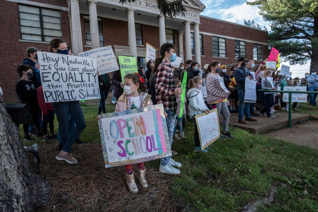 In December, a group of parents rallied in Nashville to get their kids back in the classroom. (Photo: John Partipilo)