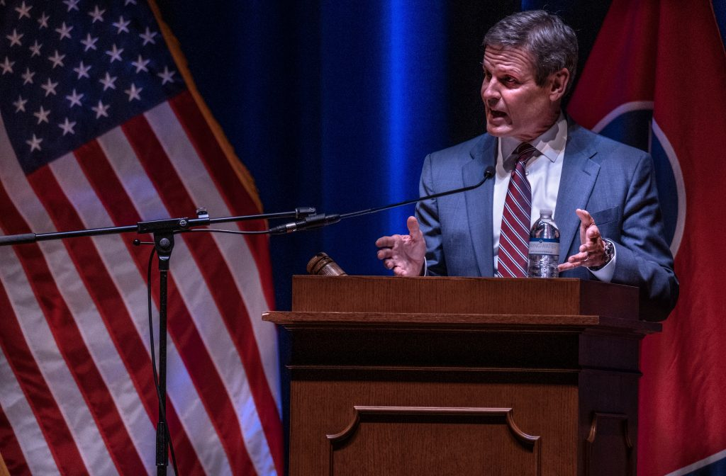 Gov. Bill Lee addresses members of the 112th General Assembly at the opening of a special session dedicated to education. (Photo: John Partipilo)