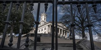 The Tennessee State Capitol with gates locked.