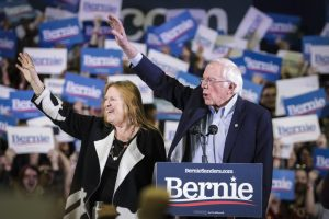 Sen. Bernie Sanders of Vermont with his wife, Jane, in Feb. 2020 in Denver. (Photo: Getty Images)