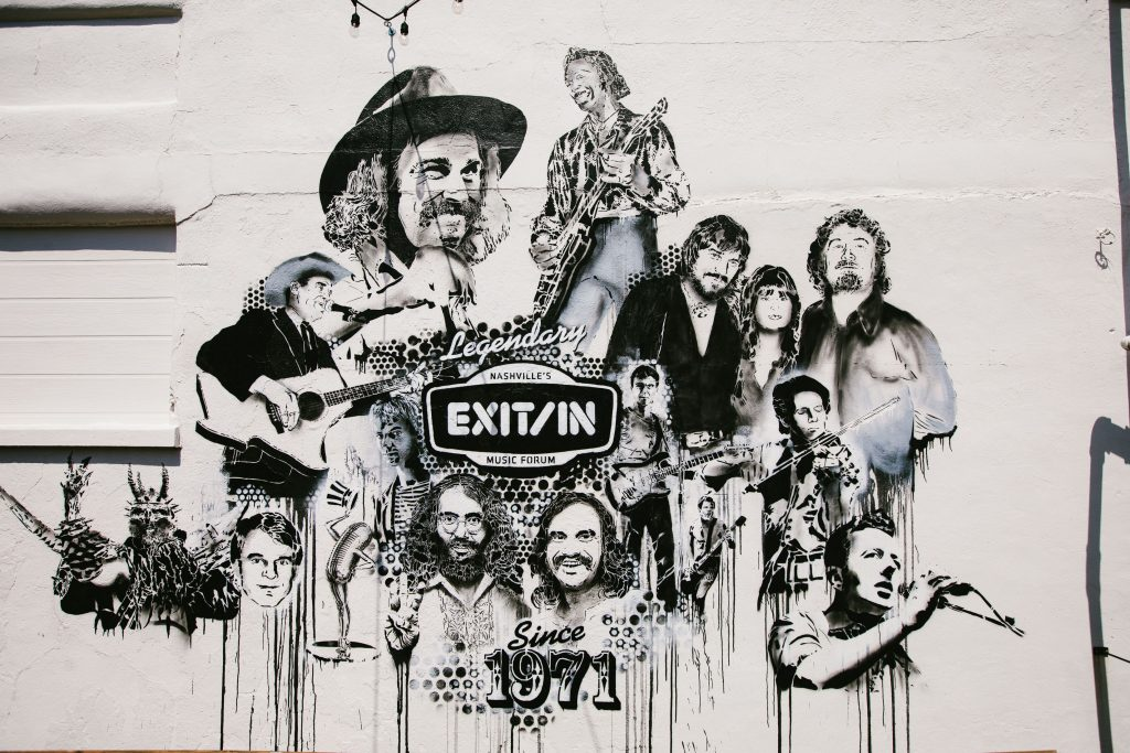 A few of the luminaries who have played the Exit/In in the club's 50-year history grace the west facade of the building. (Photo: Exit/In)