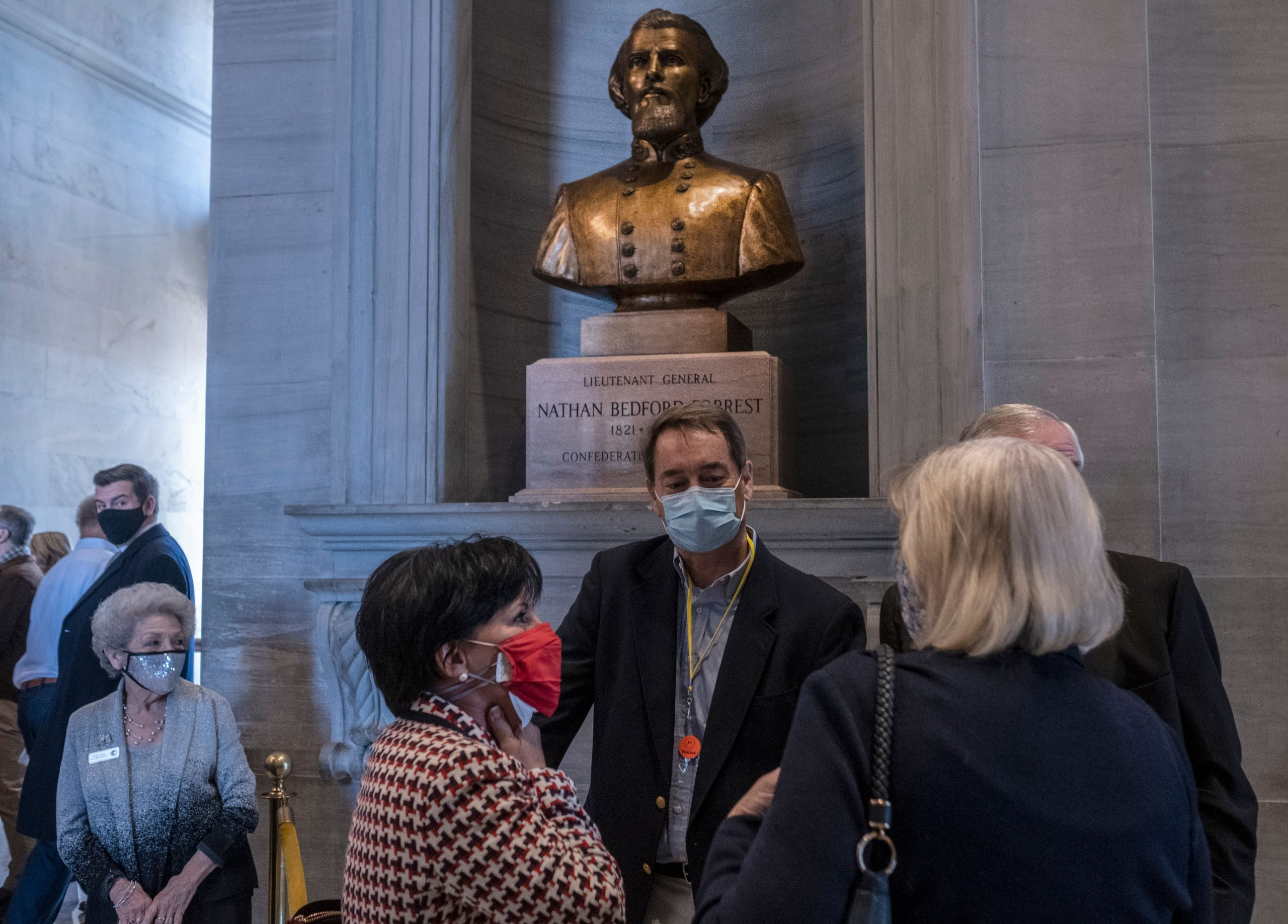 The controversial bust of Nathan Bedford Forrest perches in the Tennessee Capitol's second floor, between the chambers of the House of Representatives and Senate. (Photo: John Partipilo)