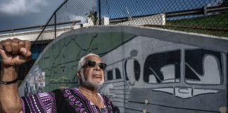 Kwame Leo Lillard in front of the Freedom Riders mural on Jefferson Street in Nashville. (Photo: John Partipilo)