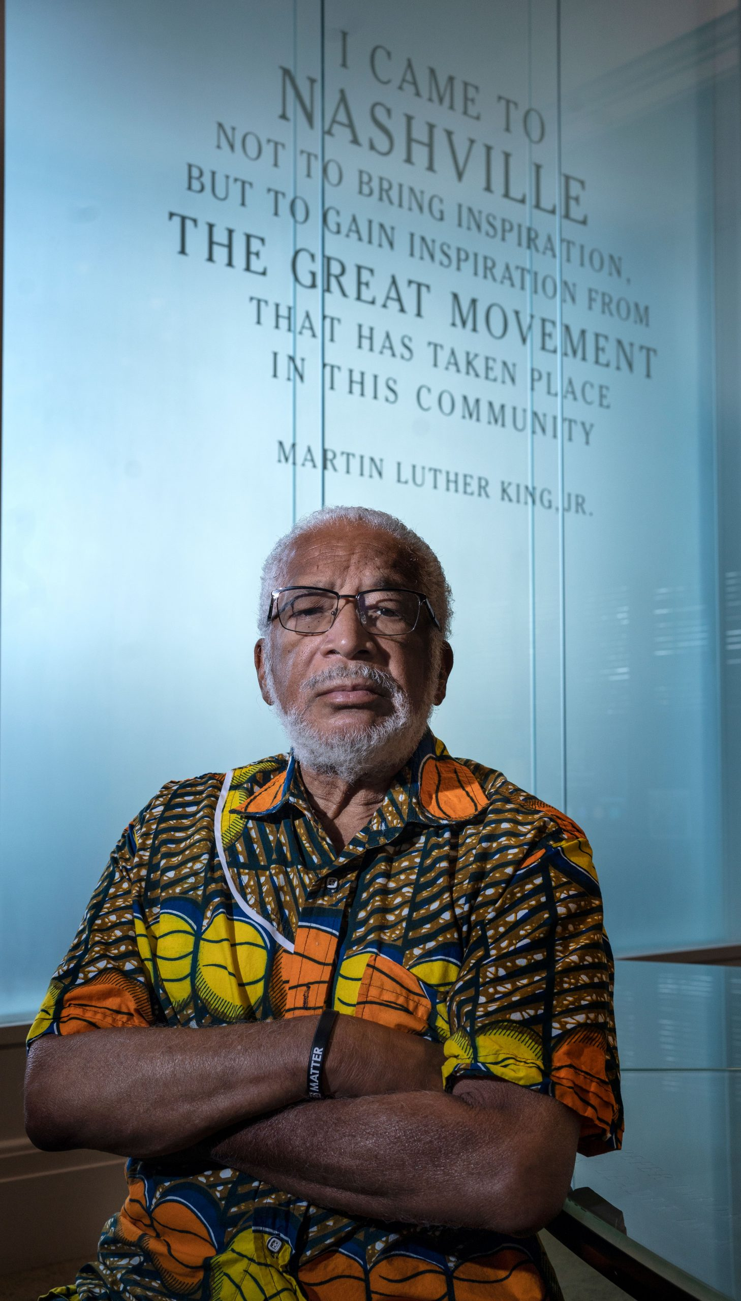 The late Kwame Leo Lillard during his last visit with photojournalist John Partipilo, inside the Civil Rights Room at Nashville Public Library.