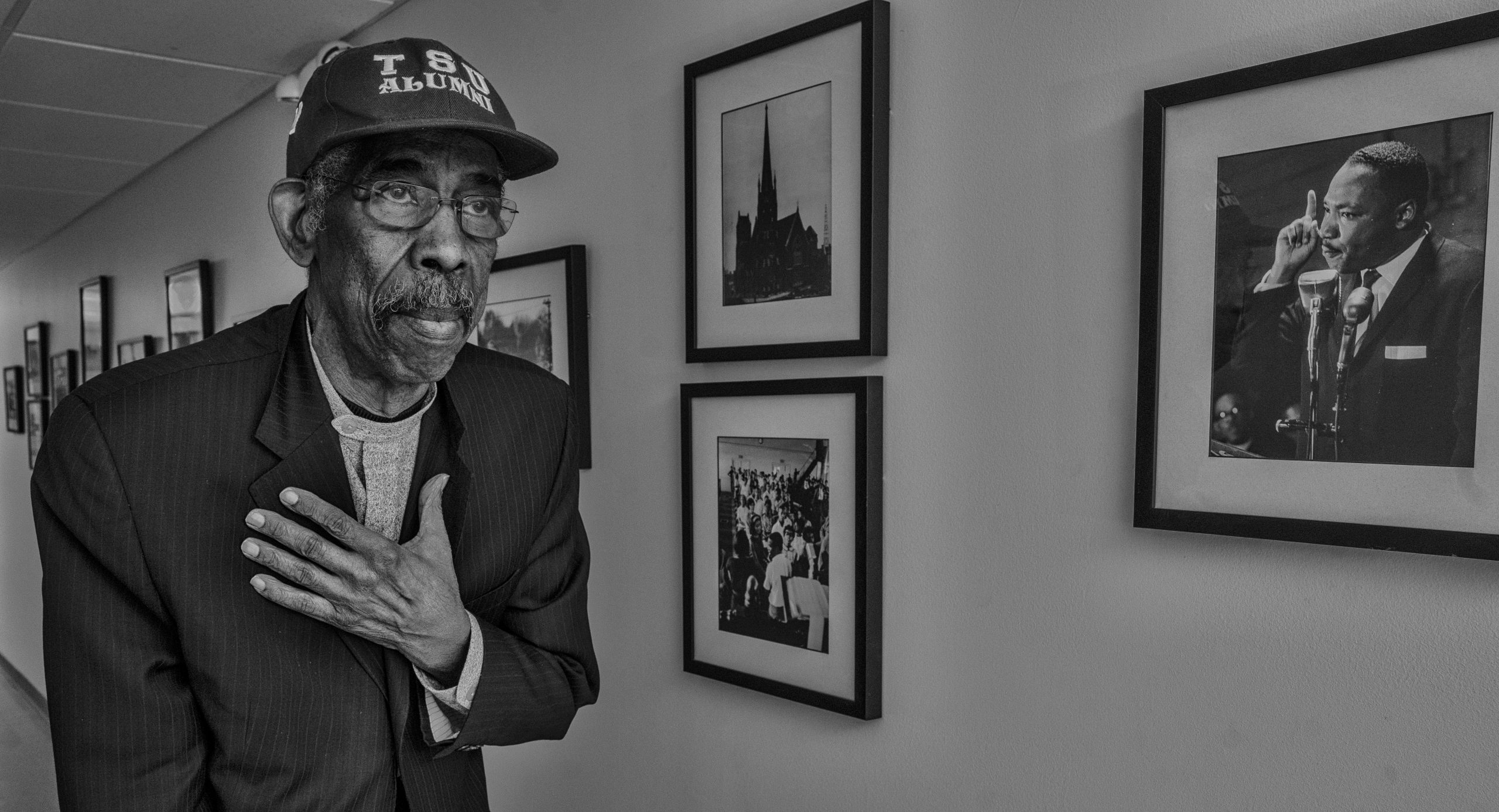 """Ernest """"Rip"""" Patton reminisces about his days in the 1960s Civil Rights Movement while walking through the Nashville Public Library. (Photo: John Partipilo)"""