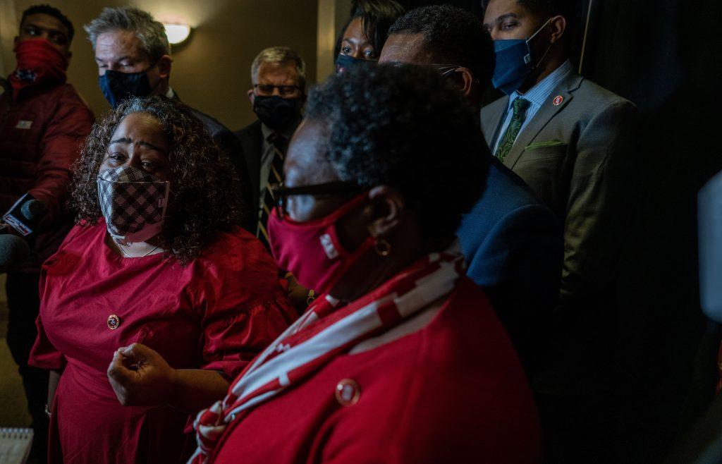 Senate Minority Leader Raumesh Akbari, left, and House Minority Leader Karen Camper, right. (Photo: John Partipilo)