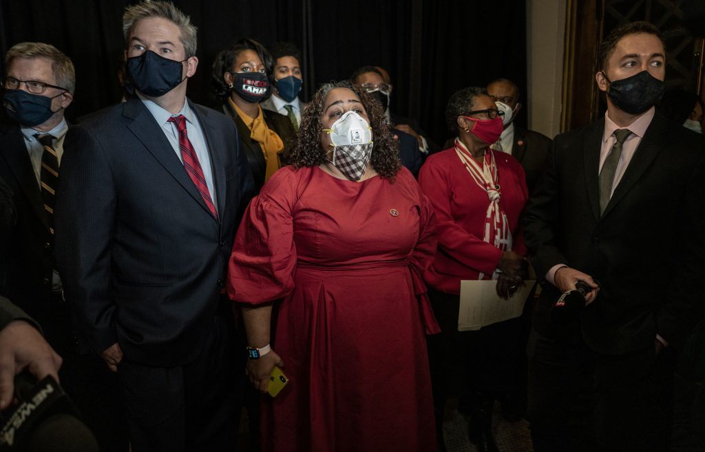 Members of the House and Senate Democratic Caucus, including Sen. Jeff Yarbro, left, and Sen. Raumesh Akbari, next to him, slammed Gov. Bill Lee for the political firing of a leading health official. (Photo: John Partipilo)