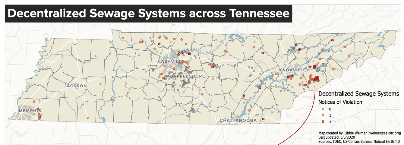 Map of Tennessee sewage systems (Source: Southern Environmental Law Center)
