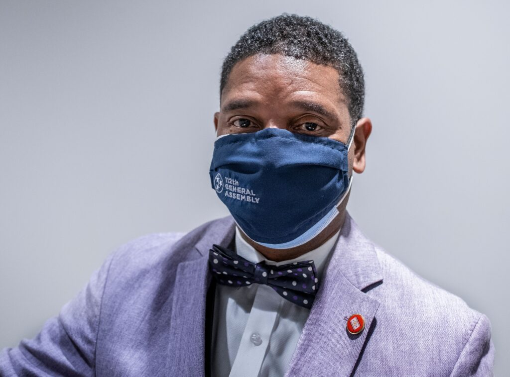 """""""Do masks work or don't they? questioned Rep. Vincent Dixie, D-Nashville, seeking clarification from GOP Rep. Bruce Griffey. Photo: John Partipilo)Rep. Vincent Dixie, photographed in the Cordell Hull Legislative Building in March 2021. (Photo: John Partipilo)"""