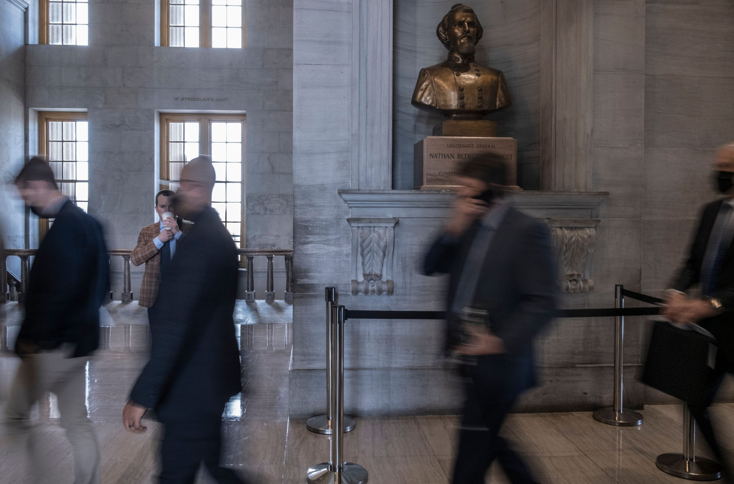 Slave trader, Confederate general: the Nathan Bedford Forrest bust sits atop a perch outside the Tennessee House of Representatives Chamber. (Photo: John Partipilo)