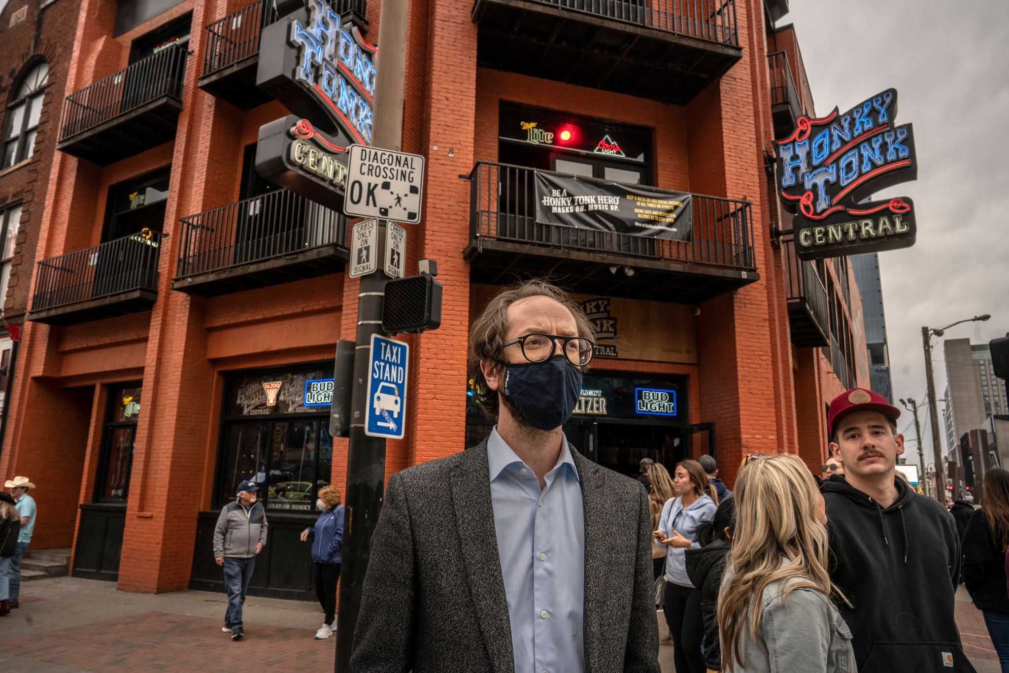Councilmember Freddie O'Connell in front of Honky Tonk Central, a multi-story bar on Lower Broadway's tourist district, part of O'Connell's diverse district. (Photo: John Partipilo)