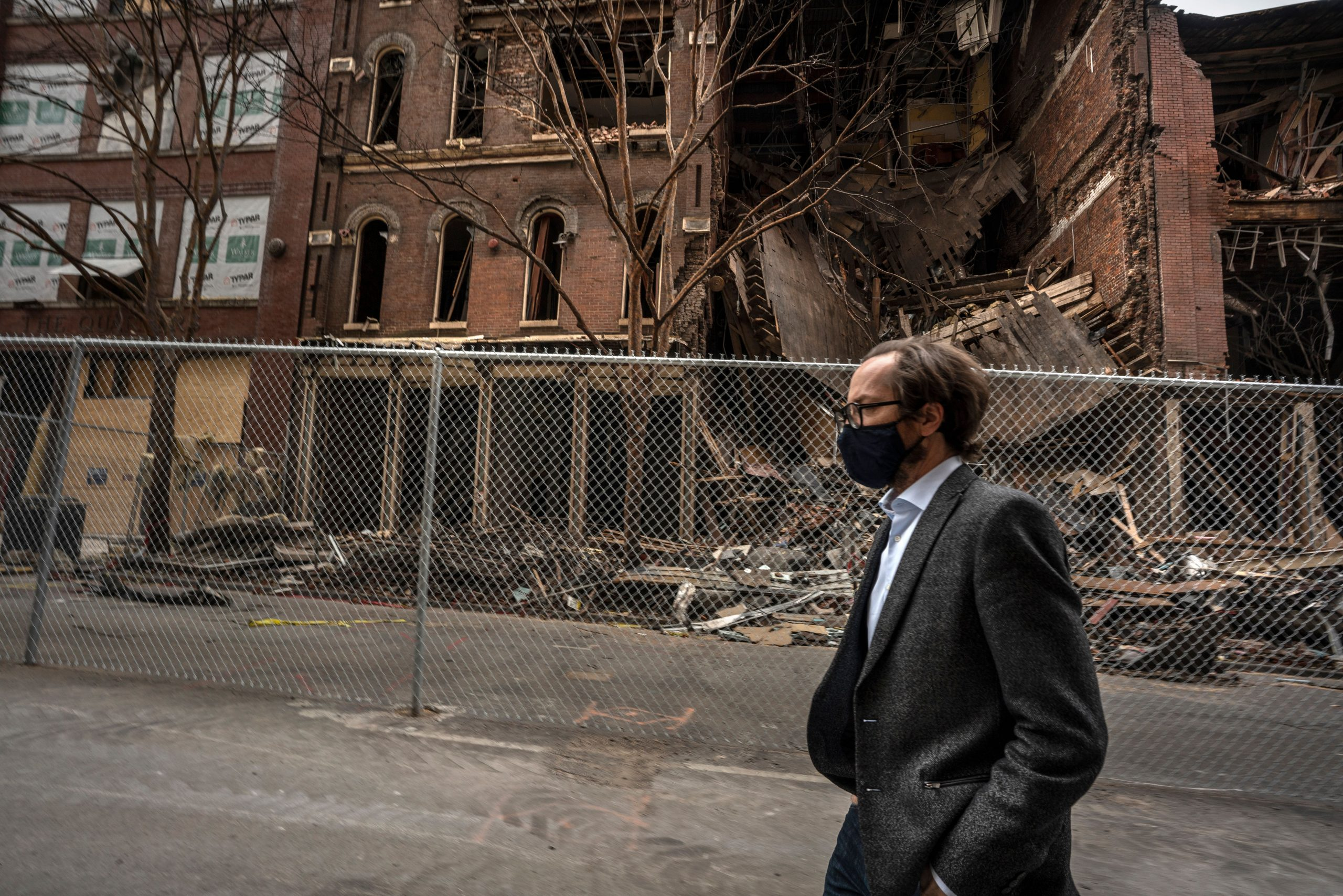 Metro Councilmember Freddie O'Connell walks down Second Avenue in Nashville, site of a Christmas Day bombing. (Photo: John Partipilo)