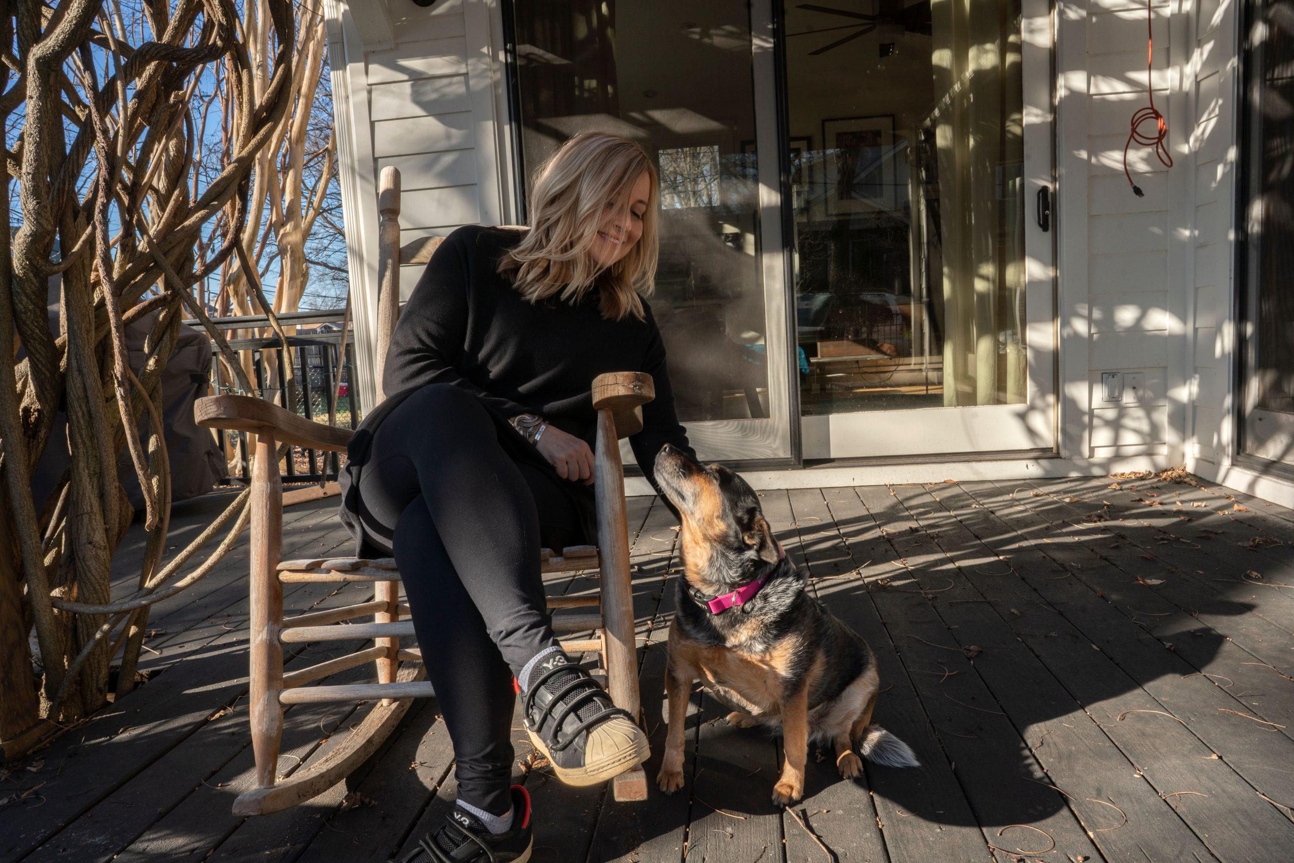 Barry shares her porch with dog Natasha. (Photo: John Partipilo)