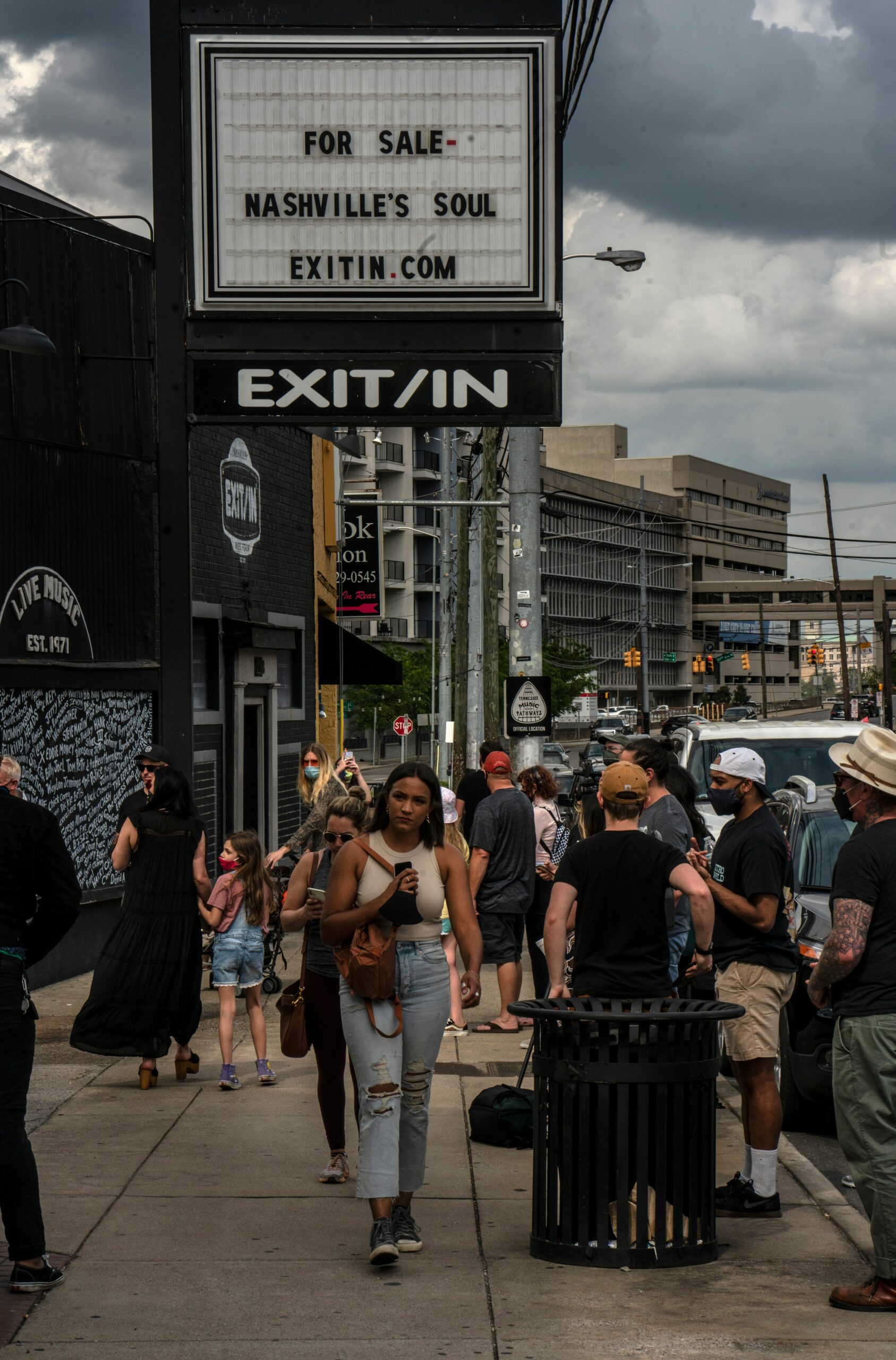 Nashville's Elliston Place, busy on Wednesday afternoon as Exit/In supporters arrived for a rally. (Photo: John Partipilo)